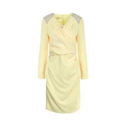 lace detail wrap dress yellow